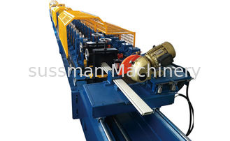 Aluminum Alloy 55mm PU Foam Roller Shutter Door Roll Forming Machine With Hydraulic Cutting