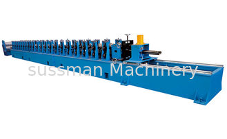 China 11Kw Main Motor Power GCr15 Roller Door Frame Roll Forming Machine Single Chain Drive supplier