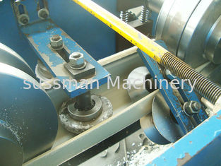 China Color Coated Steel Galvanized Steel Ridge Cap Roll Forming Machine Two Output Tables supplier