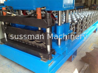 Automatic Roof Panel Roll Forming Machine , Steel Metal Glazed Step Tile Making Machine