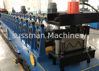 China Galvanized W Beam Expressway Metal Roll Forming Machine 22KW Hydraulic Decoiler supplier