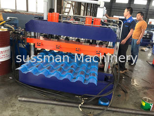 China Color Sheet Roof Panel Roll Forming Machine , Glazed Tile Roll Forming Equipment supplier