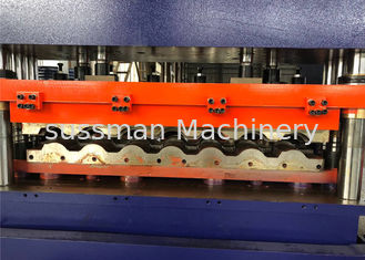 China Colour Metal Trapezoidal Roofing Sheet Roll Forming Machine 16 Staions And 7.5KW Power supplier