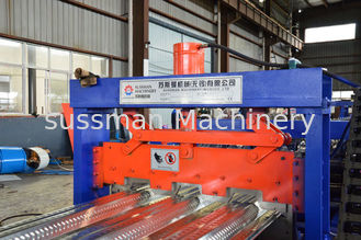 China 15KW Main Power Deck Floor Roll Forming Machine With Servo Following Cutting supplier