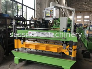 China PPGI Aluminium coils thickness 0.18-0.5mm Double layer roll forming machine with 12 meters auto stacker supplier