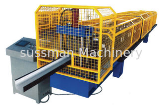 China 7.5Kw Main Motor  Half Square Gutter Downspout Roll Forming Machine By Chain Drive Transmission supplier