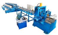 China Gear Box Driving Door Frame Roll Forming Machine with Two Output Tables company