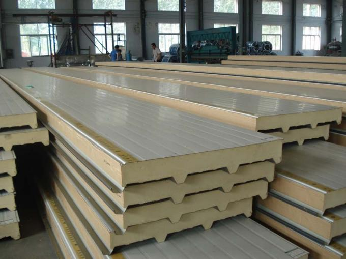PLC Control PU Sandwich Panel Production Line 40 - 42 Kg / m2 Core Density