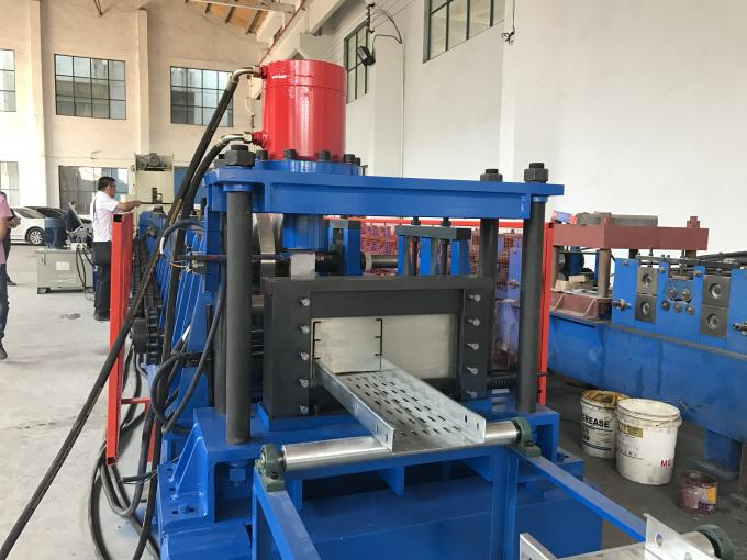 12 Stations PLC Control Cable Tray Roll Forming Machine 10-15m / Min Speed