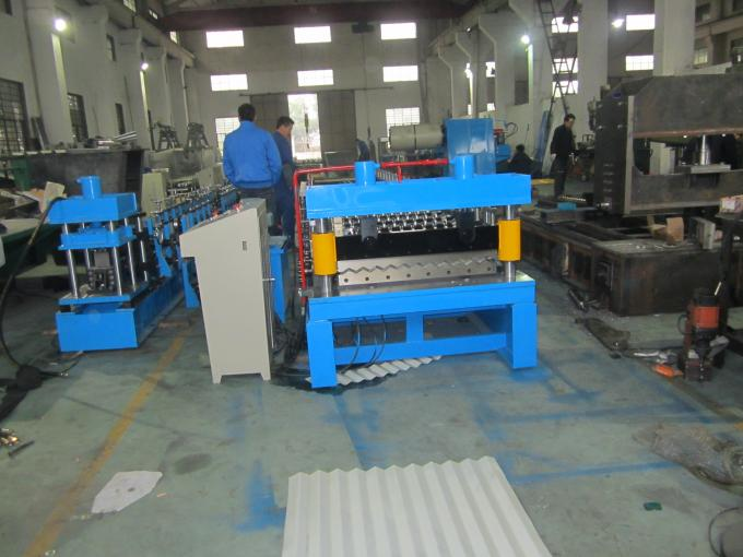 0.4-0.8Mm Thickness Coils Corrugated Sheet Roll Forming Machine With 12-15m / Min