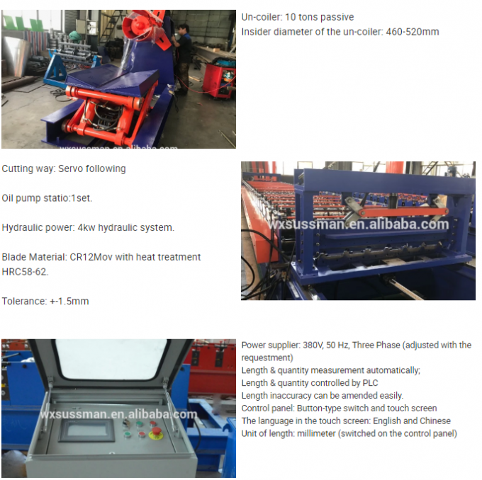 15KW Main Power Deck Floor Roll Forming Machine With Servo Following Cutting