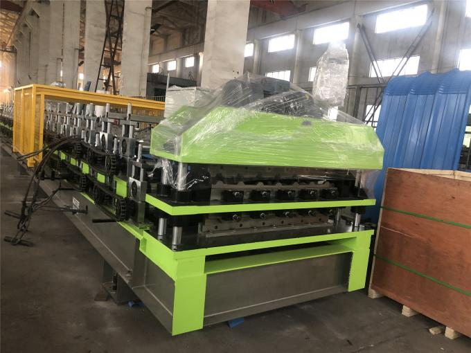 PPGI Galvanized coils Corrgudated and Ibr Double layer roll forming Machine with 10 ton hydraulic decolier with coil car