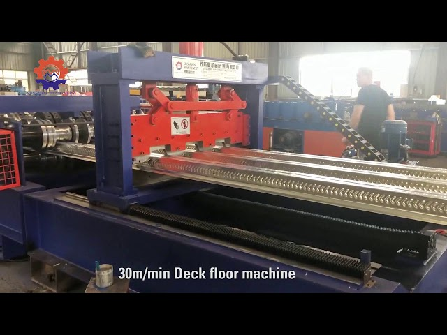 Metal Deck Floor With Ribs Roll Forming Equipment PLC Control With Touch Screen